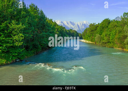 view along the Loisach onto the Wetterstein Mountains and the Zugspitze, Germany, Bavaria - Stock Photo