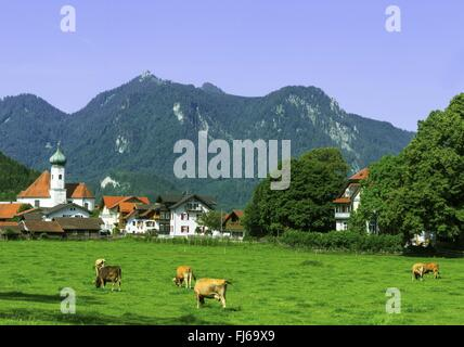view over Eschenlohe onto the Ettaler Manndl, Germany, Bavaria, Oberbayern, Upper Bavaria, Ammergebirge - Stock Photo
