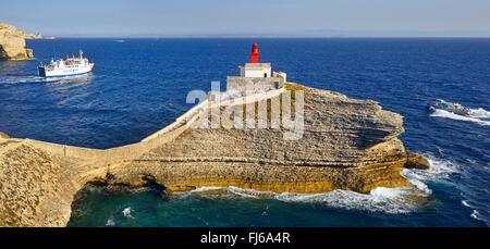 lighthouse La Madonetta, France, Corsica, Bonifacio - Stock Photo