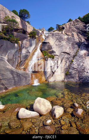 waterfall of Purcaraccia in Bavella mountains, France, Corsica, Bavella