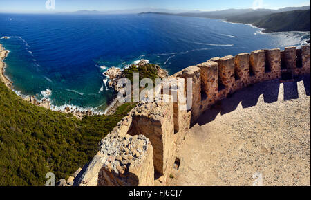 Genoese tower of Capu di Muro, France, Corsica, Ajaccio - Stock Photo