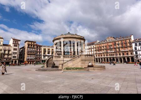 Plaza del Castillo in Pamplona, Navarra, Spain - Stock Photo