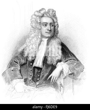 Sir Isaac Newton, 1642-1726, an English physicist and mathematician - Stock Photo