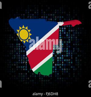 Namibia map flag on hex code illustration - Stock Photo