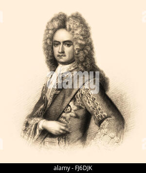 Charles Mordaunt, 3rd Earl of Peterborough and 1st Earl of Monmouth, 1658-1735, an English nobleman and military - Stock Photo