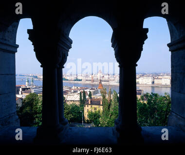 City view from Fisherman's Bastion, Castle Hill, The Castle District, Buda District, Budapest, Republic of Hungary - Stock Photo