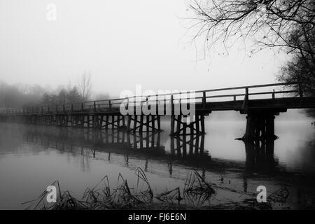 Bridge on the Drava River with a fountain - Stock Photo