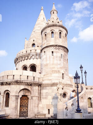 Fisherman's Bastion (Halászbástya), Castle Hill, The Castle District, Buda District, Budapest, Republic of Hungary - Stock Photo