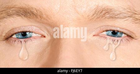 Crying blue eyes - Stock Photo