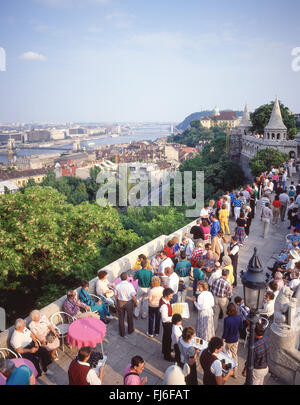Drinks on terrace of Fisherman's Bastion,(Halászbástya), The Castle District, Buda District, Budapest, Republic - Stock Photo