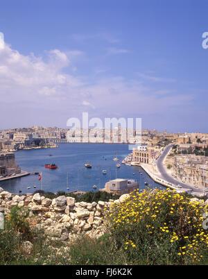 View of Valletta and harbour from Ix-Xatt, Il-Kalkara, Malta Xlokk Region, Republic of Malta - Stock Photo