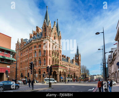 St Pancras International Station incorporating St Pancras Renaissance London Hotel, Euston Road, London, England, - Stock Photo