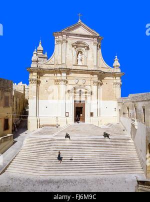 The Cathedral of Assumption, The Citadella, Città Victoria, Gozo (Għawdex), Gozo Region, Republic of Malta - Stock Photo