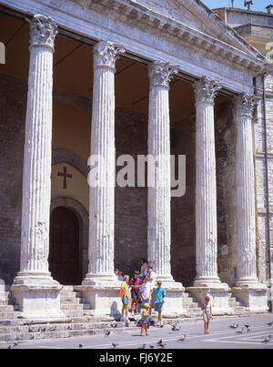 Santa Maria Sopra Minerva Church, Piazza Del Comune, Assisi, Province of Perugia, Umbria Region, Italy - Stock Photo