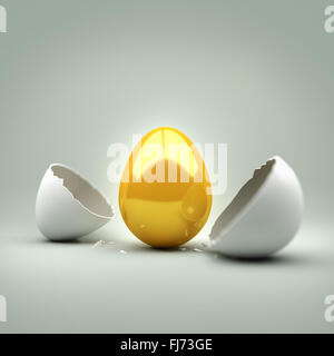 New Golden Egg. A cracked egg revealing a new golden egg. Concept. - Stock Photo