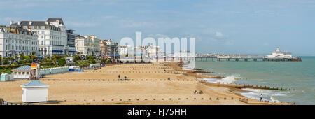 View over the Eastbourne Waterfront and Pier, East Sussex, South England   Aussicht ueber die Strandpromenade von - Stock Photo