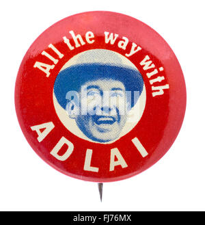 1956 US presidential campaign button for democratic candidate Adlai Stevenson - Stock Photo