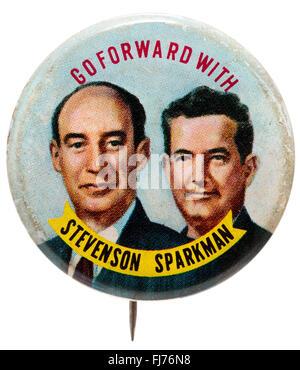 1952 US presidential campaign button for Adlai Stevenson and John Sparkman - Stock Photo