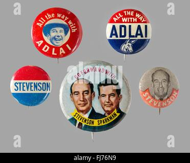 1952 and 1956 US presidential campaign buttons for Adlai Stevenson -John Sparkman was Stevenson's 1952 vice presidential - Stock Photo
