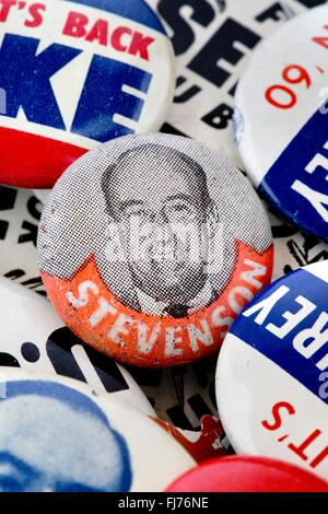 1952 US presidential campaign button for Adlai Stevenson with an assortment of other 1950s and 1960s political button - Stock Photo
