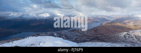The views from around the summit of Ben Lomond covered in snow in the winter - Stock Photo