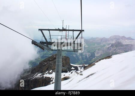 Cable car in mount Titlis in Switzerland - Stock Photo