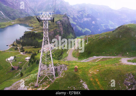 Cable car pillar in mount Titlis in Switzerland - Stock Photo