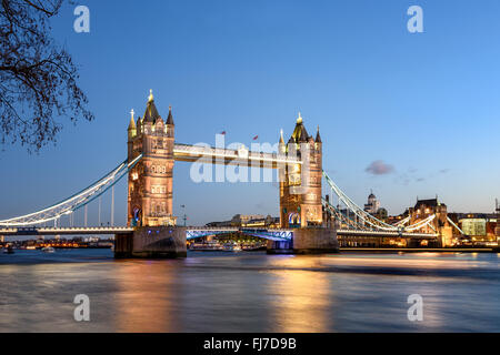 Tower bridge of London is the most famous landmark and tourist attraction. - Stock Photo