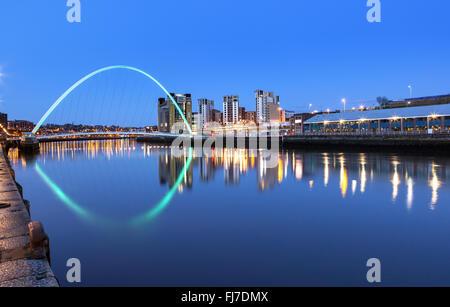 Millennium bridge over river Tyne in Newcastle Upon Tyne, England. - Stock Photo