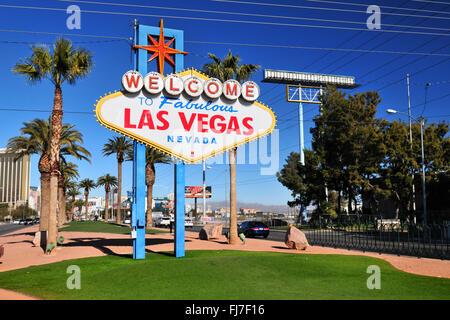 The famous sign (billboard) on Las Vegas Strip, Las Vegas, Nevada, USA - Stock Photo