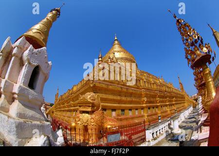Shwezigon Paya Pagoda in Nuang U, Bagan, Myanmar (Burma) - Stock Photo