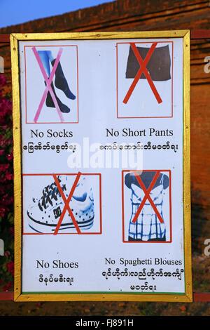 Temple etiquette sign advising no shoes etc. at Sulamani Guphaya Temple Pagoda on the Plain of Bagan, Bagan, Myanmar - Stock Photo
