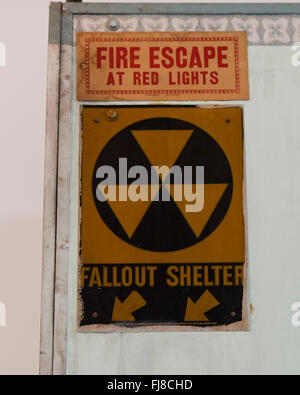 Fallout shelter sign on building entrance - Washington DC - Stock Photo