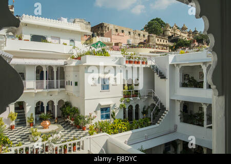 View from an old haveli turned restaurant in Udaipur, Rajasthan - Stock Photo