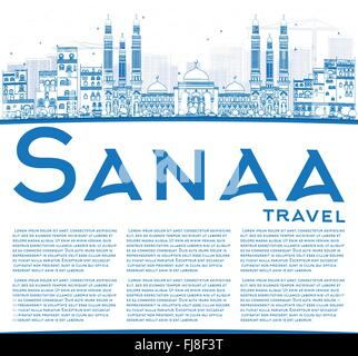 Outline Sanaa (Yemen) Skyline with Blue Buildings. Vector Illustration. Business Travel and Tourism Concept with - Stock Photo