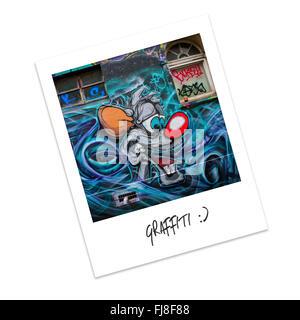 Polaroid Photo of graffiti - Stock Photo