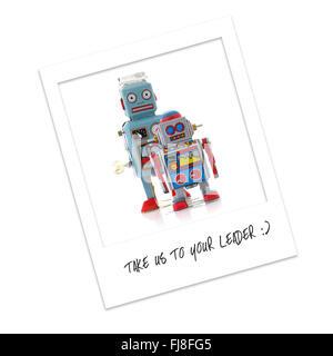 Polaroid Photo of Robots - Take Us To Your Leader - Stock Photo