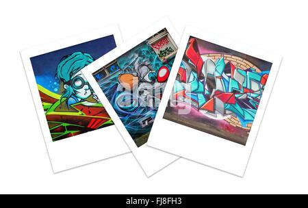 Three Polaroid Photos of Graffiti with Copy Space - Stock Photo