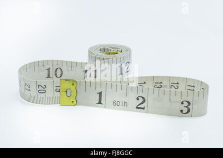 measuring tape for tool roulette  on white background. - Stock Photo