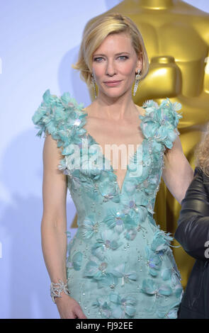 Actress Cate Blanchett poses in the press room during the 88th annual Academy Awards ceremony at the Dolby Theatre - Stock Photo