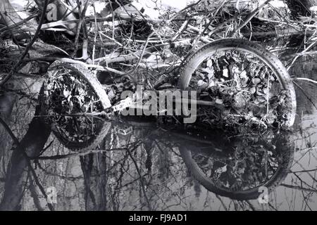 Abandoned rusty bicycle in a small river - Stock Photo