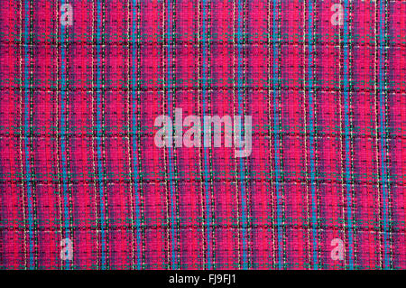 Plaid red fabric background with texture - Stock Photo
