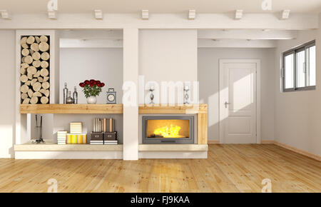 White living room with fireplace,wooden beams and closed door on background - 3D Rendering - Stock Photo