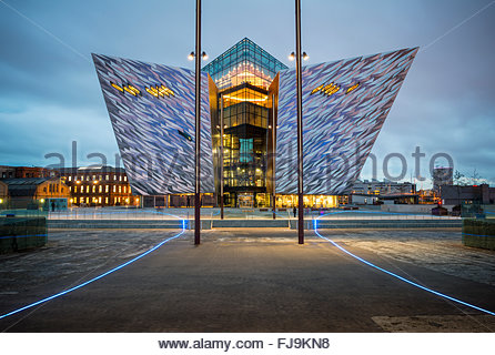 Titanic Museum at dusk, Belfast, Northern Ireland - Stock Photo