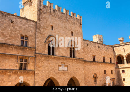 The Palace of the Grand Master of the Knights of Rhodes is a medieval castle in the city of Rhodes. - Stock Photo