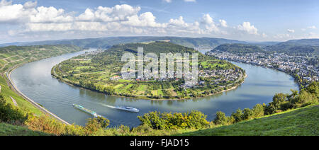 Picturesque bend of the river Rhine near the town Filsen, Germany, Rhineland-Palatinate - Stock Photo