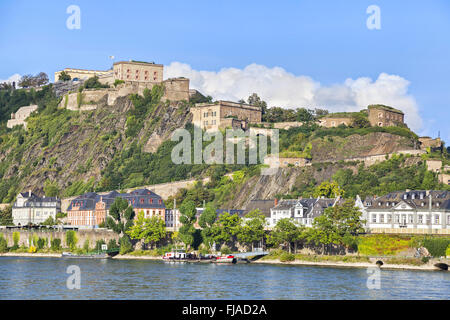 Fortress Ehrenbreitstein on the side of river Rhine in Koblenz, Germany - Stock Photo