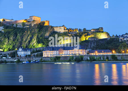Evening view on Fortress Ehrenbreitstein on the side of river Rhine in Koblenz, Germany - Stock Photo