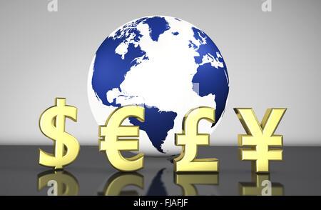 Globe And Stock Market Symbols Stock Photo 12628047 Alamy