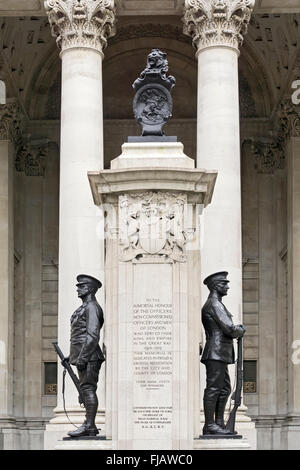 The London Troops War Memorial, Royal Exchange, City of London, commemorates the men of London who fought in WWI - Stock Photo